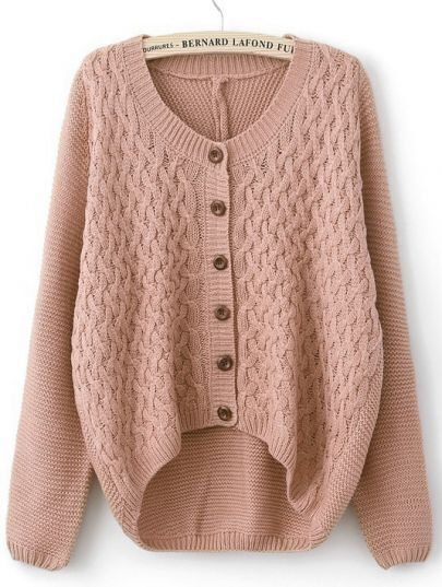 Pink Long Sleeve Elbow Contrast Leather Sweater