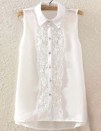 White Sleeveless Contrast Lace Blouse