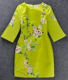 Green Half Sleeve Floral Pattern Dress