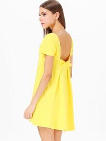 Yellow Short Sleeve Backless Bow Mini Dress