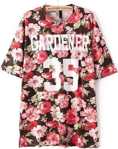 Red Short Sleeve GARENER Floral Print T-Shirt