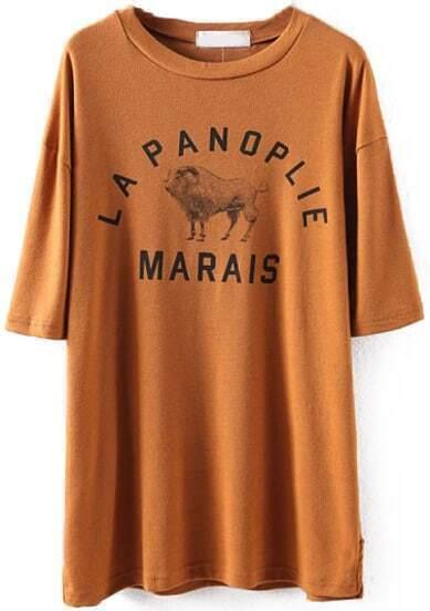 Khaki Short Sleeve Letters Sheep Print T-Shirt