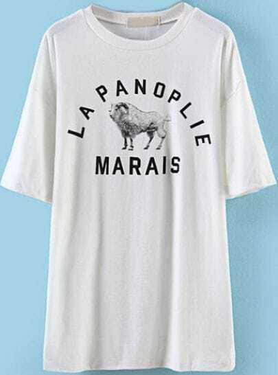 White Short Sleeve Letters Sheep Print T-Shirt