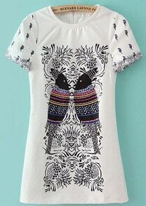 White Short Sleeve Birds Print Dress