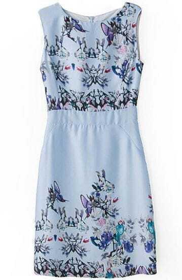 Blue Sleeveless Butterfly Floral Print Dress