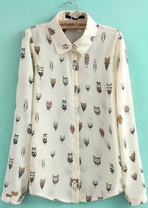 Apricot Lapel Long Sleeve Owl Print Blouse
