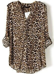Leopard V Neck Long Sleeve Slim Blouse