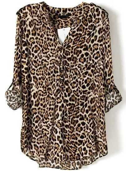 Leopard V Neck Long Sleeve Slim Blouse