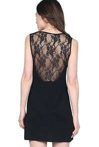 Black Sleeveless Sheer Backless Lace Bodycon Dress