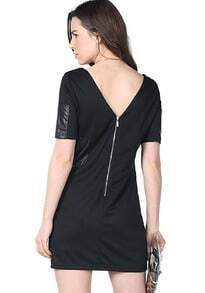 Black Half Sleeve Contrast PU Leather Zipper Dress