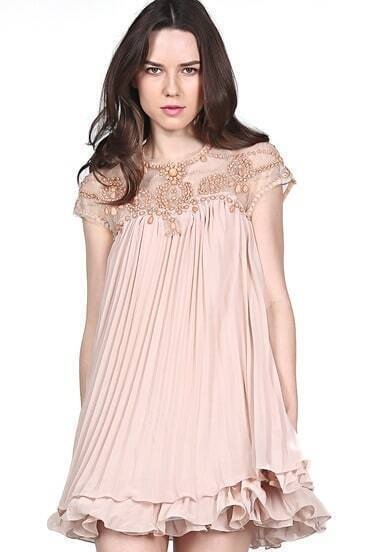 Apricot Short Sleeve Lace Luxury Deluxe Pleated Chiffon Dress