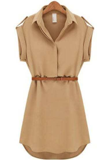Khaki Overalls Lapel Short Sleeve Loose Chiffon Dress