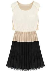 Apricot Contrast Black Sleeveless Pleated Dress