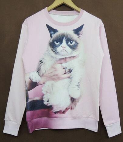 Pink Long Sleeve Angry Cat Print Sweatshirt