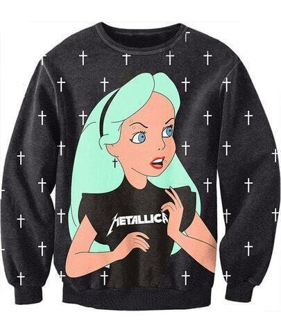 Black Long Sleeve Cross Girl Print Sweatshirt