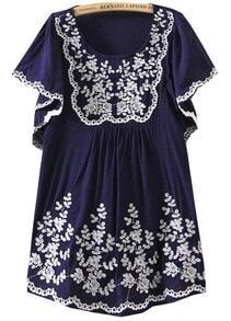 Navy Trumpet Sleeves Tribal Embroidered Dress