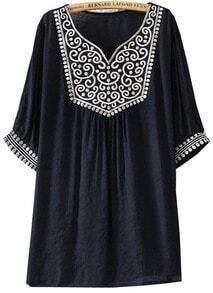 Black Short Sleeve Vintage Embroidered Blouse