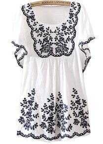 White Trumpet Sleeves Tribal Embroidered Dress