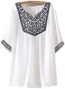 White Short Sleeve Vintage Embroidered Blouse