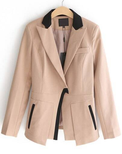 Camel Notch Lapel Shoulder Pads Fitted Blazer