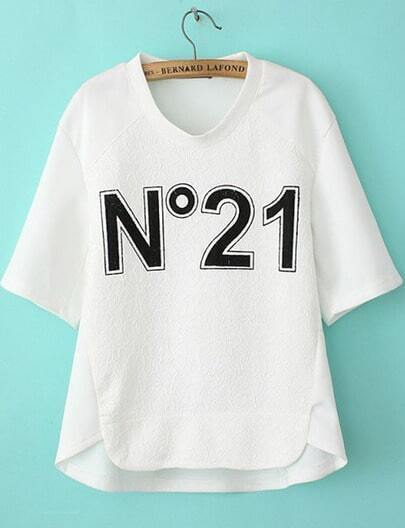 Camiseta suelta No21 manga corta-blanco