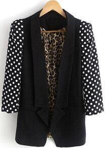 Black Polka Dot Sleeve Inside Leopard Blazer