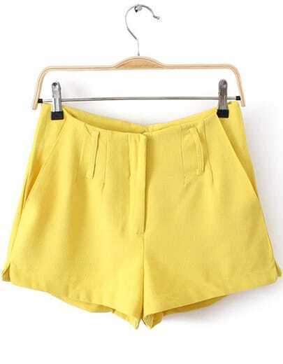 Yellow Covered Button Pockets Split Shorts