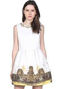 White Sleeveless Bead Vintage Floral Dress