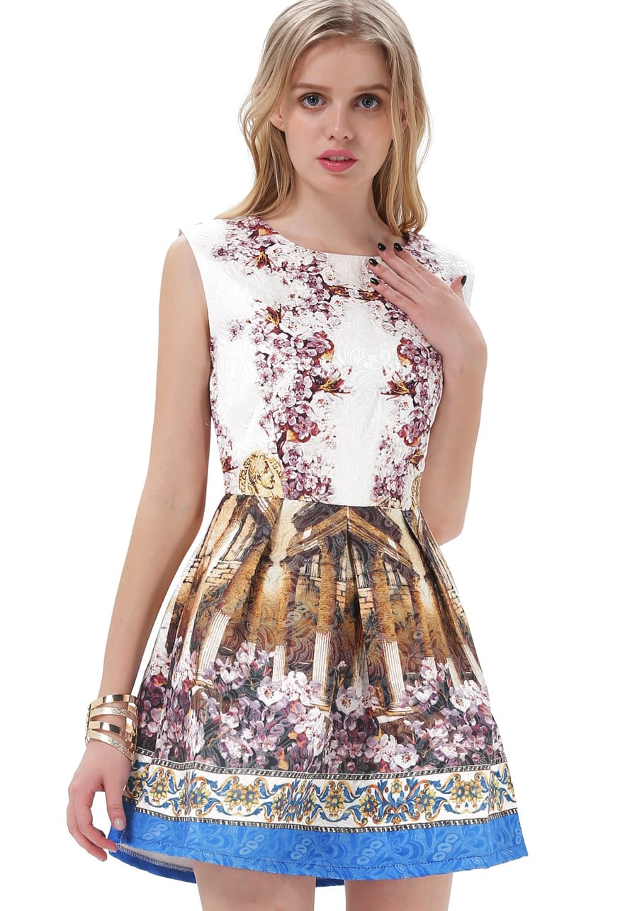 White Contrast Blue Sleeveless Vintage Floral Dress -SheIn(Sheinside)