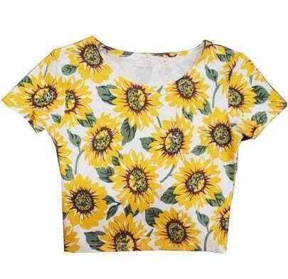 White Short Sleeve Sunflower Pattern T-Shirt