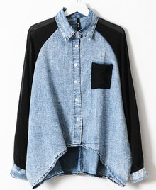 Blue Contrast Black Chiffon Batwing Sleeve Denim Blouse