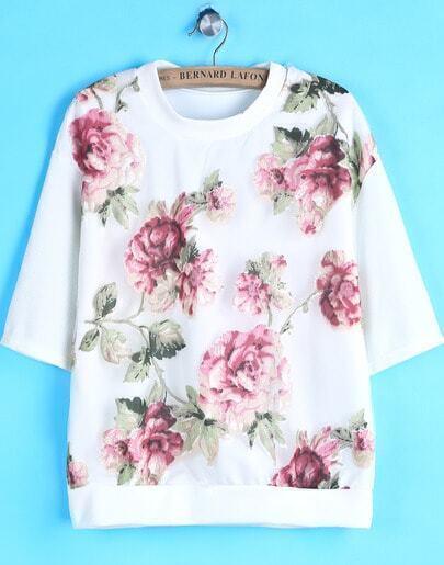 White Short Sleeve Gauze Floral T-Shirt