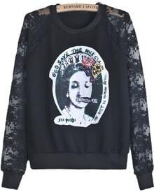 Black Contrast Lace Long Sleeve Beauty Print Sweatshirt