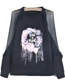 Black Contrast Sheer Mesh Yoke Floral Sweatshirt