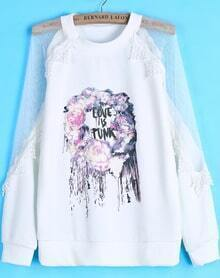 White Contrast Sheer Mesh Yoke Floral Sweatshirt
