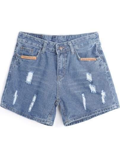 Blue Contrast PU Leather Ripped Denim Shorts