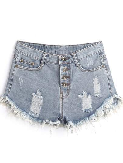 Light Blue Pockets Ripped Fringe Shorts