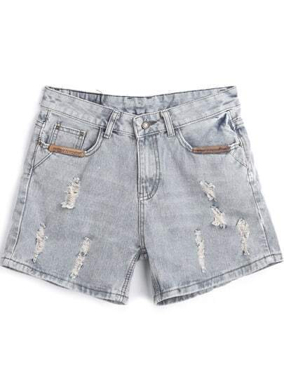 Light Blue Contrast PU Leather Ripped Denim Shorts