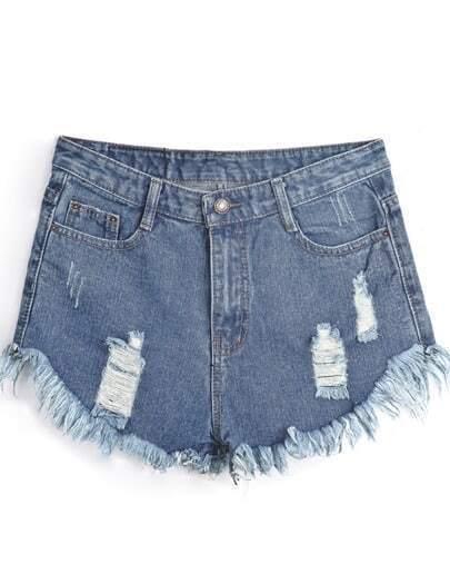 Navy Pockets Fringe Ripped Denim Shorts