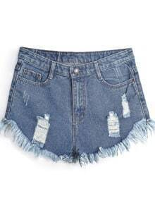 Navy Pockets Fringe Ripped Denim Shorts