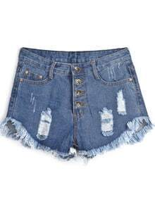 Navy Buttons Fringe Ripped Denim Shorts