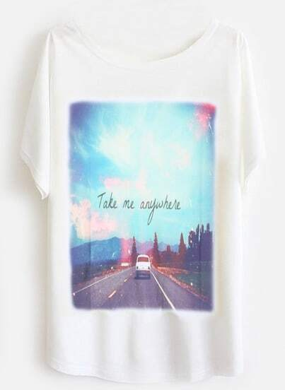White Batwing Short Sleeve Take me anywhere Print T-Shirt