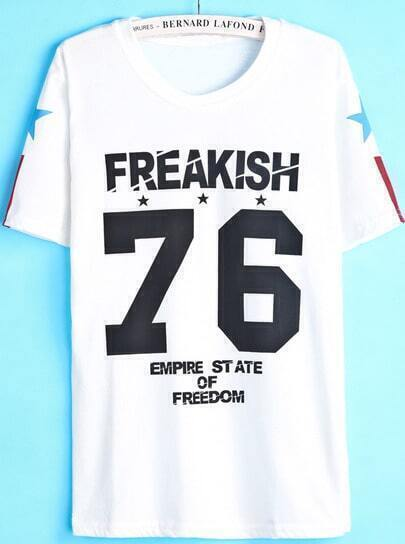 White Short Sleeve Letters 76 Print T-Shirt