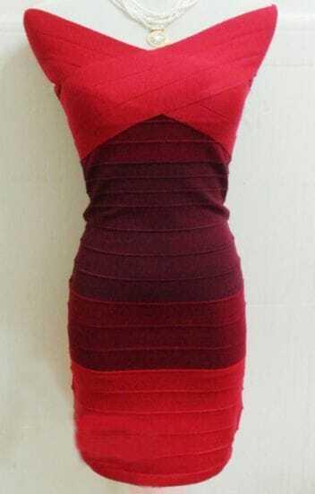 Wine Red Off The Shoulder Bandage Dress