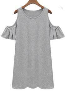 Grey Ruffle Sleeve Off The Shoulder Dress