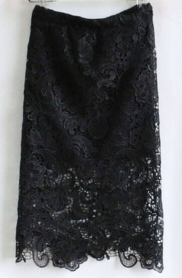 Black Hollow Lace Bodycon Skirt
