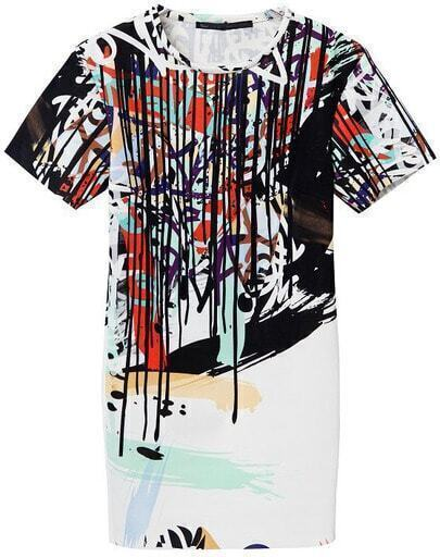 White Short Sleeve Graffiti Print Dress