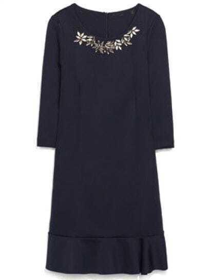 Navy Half Sleeve Rhinestone Ruffle Dress