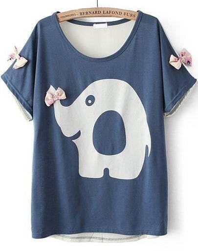 Blue Short Sleeve Elephant Print Bow T-Shirt