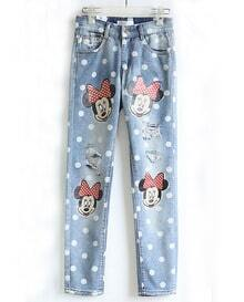 Blue Mickey Mouse Fringe Pant